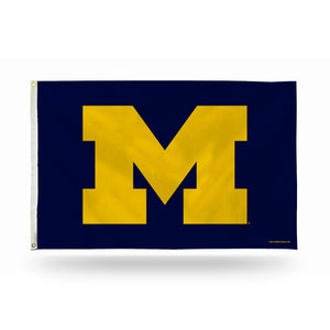 "MICHIGAN BANNER FLAG - YELLOW ""M"" ON NAVY BACKGROUND"