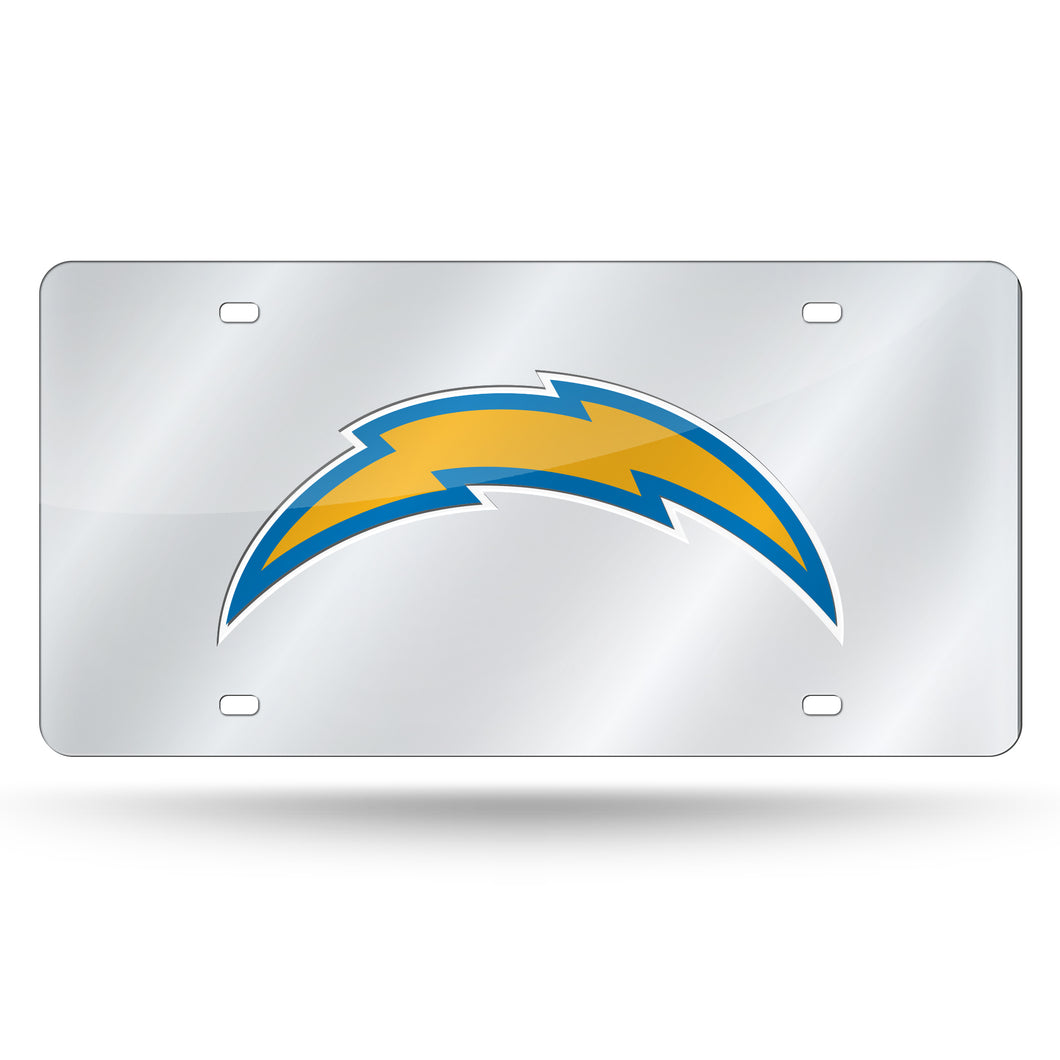LA CHARGERS SILVER LASER CUT AUTO TAG