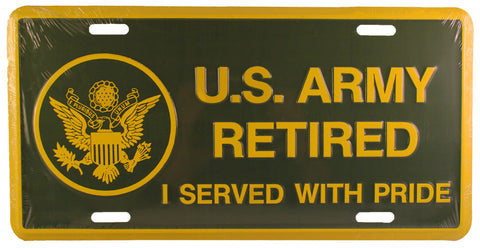 Army Retired License Plate