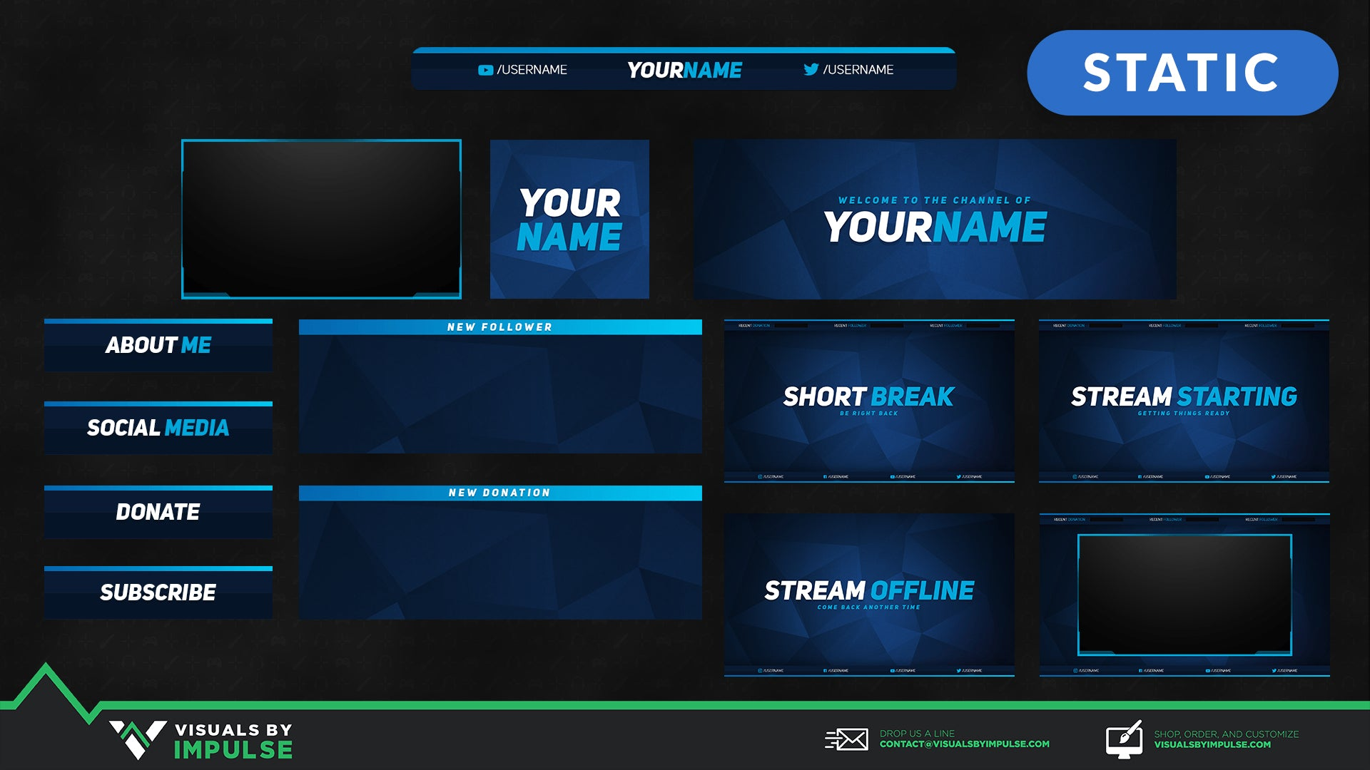 aqua stream overlays graphics for twitch and mixer streamers