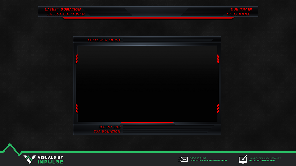 Neon Red Twitch Overlay - Visuals by Impulse
