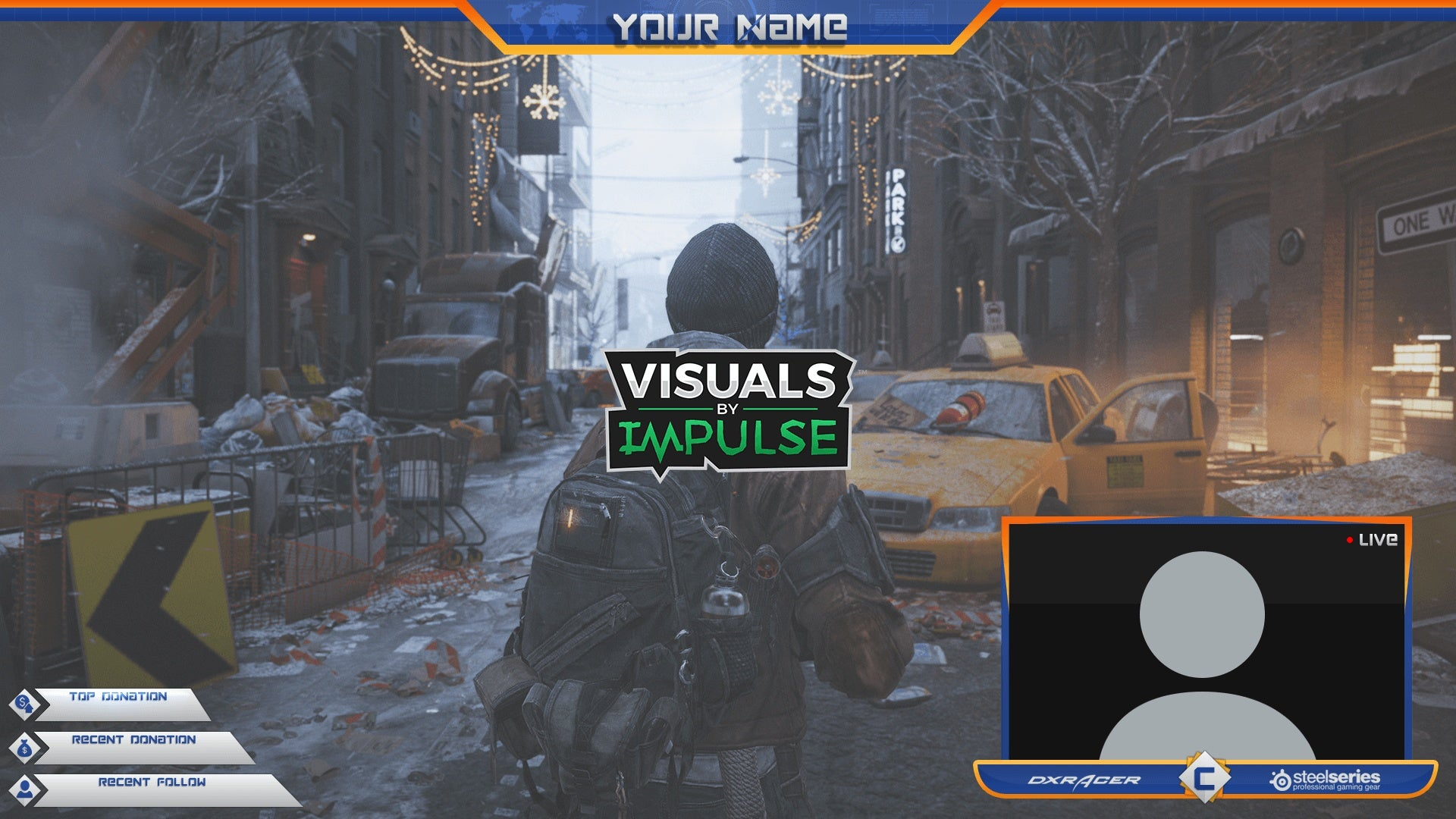 blue and orange twitch overlay package visuals by impulse