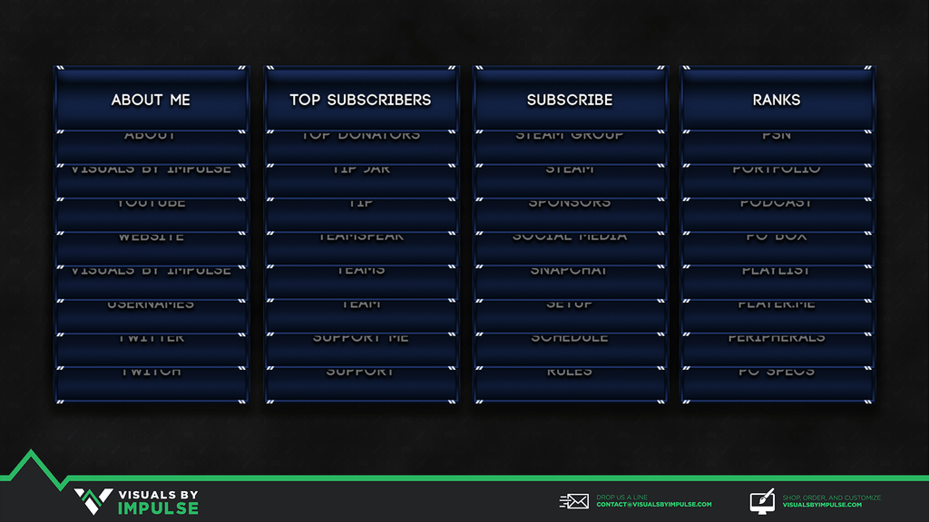 Stream Panels - Navy Twitch Panels
