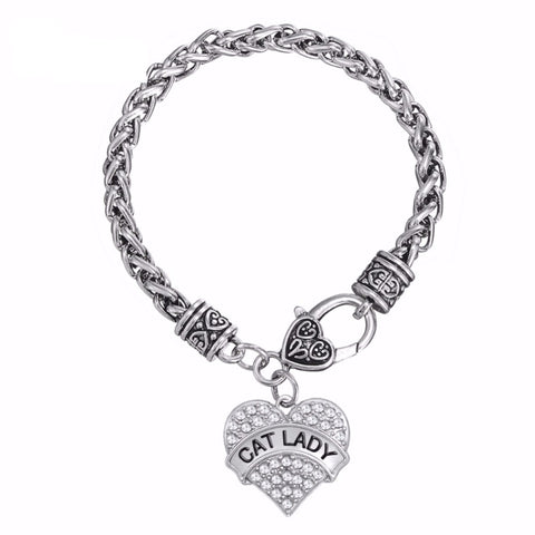 """Cat Lady"" Heart Crystal Charm Bracelet"