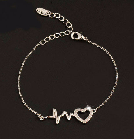 Nurses ECG Heartbeat & Crystal Heart Bracelet