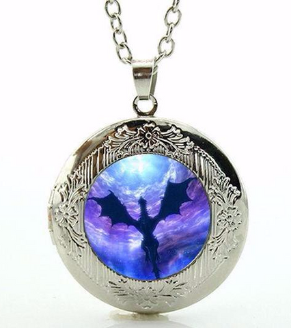 Flying Dragon Purple Fantasy Locket Necklace (2 Colors)