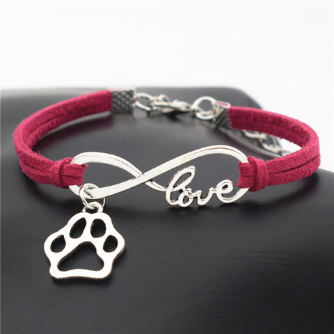 """Paw Print"" Pet Love & Inifinity Charm Bracelet (10 Colors)"