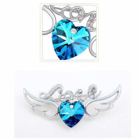 Heart Angel Wings & Love Brooch Pin (3 Colors)
