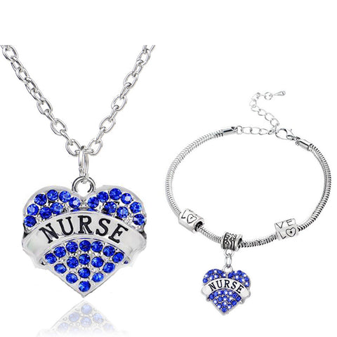 Nurses Love & Heart Crystal Charm Pendant Necklace & Bracelet (3 Colors)