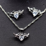 Heart Angel Wings & Love Pendant Necklace & Earrings (3 Colors)