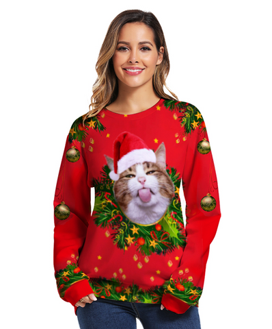 Christmas Cat Humorous Holiday Sweatshirt