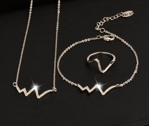 Nurses White Crystal ECG Heartbeat Jewelry Set