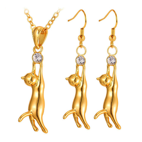 """Hang in There"" Cat Pendant Necklace & Earrings (2 Colors)"