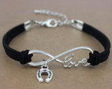 Horse Love & Infinity Horseshoe Charm Bracelet (9 Colors)