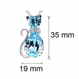 Crystal Cat Pendant Necklace (9 Colors)