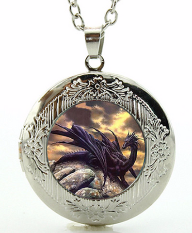 Black Dragon Locket Necklace (2 Colors)