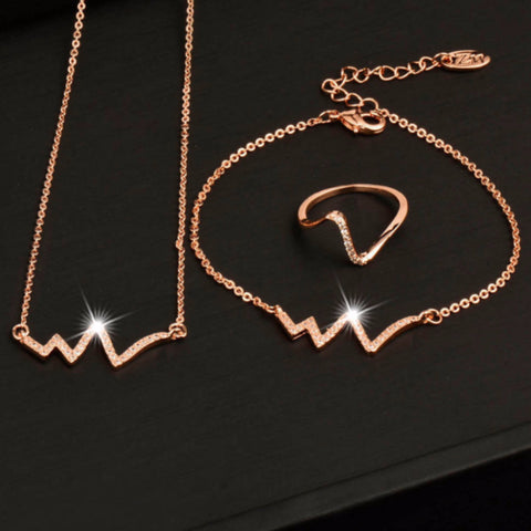 78b999409 Nurses Rose Gold Crystal ECG Heartbeat Jewelry Set – Crazy Aunt Karen's