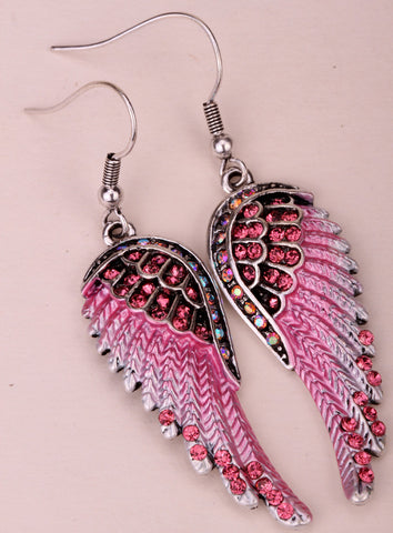 Angel Wings Crystal Earrings (15 Colors)