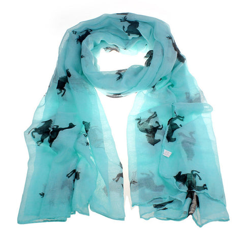 Horse Print Voile Scarf (7 Colors)