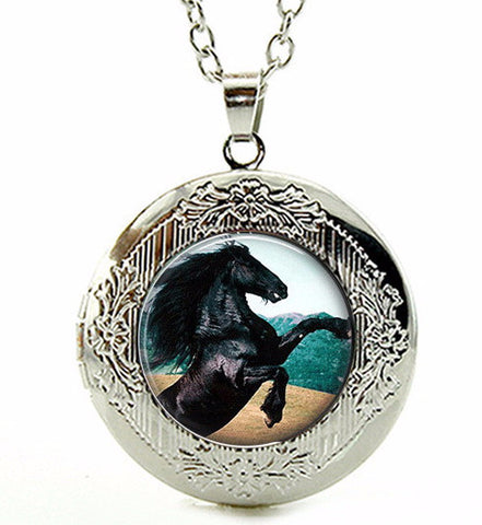 Black Stallion Horse Locket Necklace
