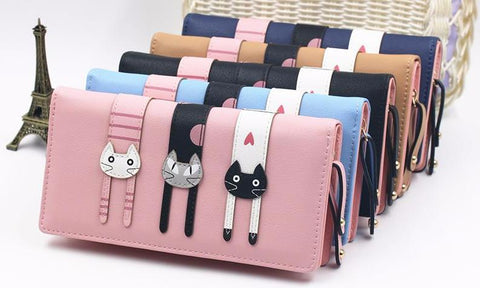 """Cat Trio"" Fashion Wallet (5 Colors )"