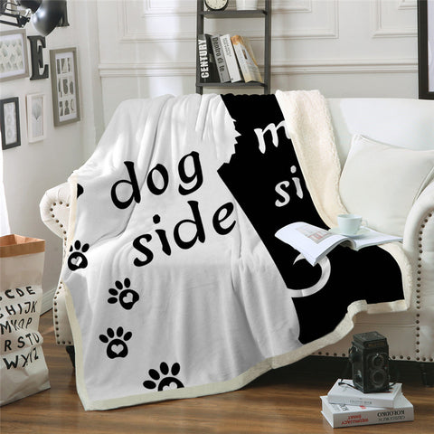 """Dog Side - My Side"" Throw Blanket (2 Sizes)"