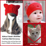 """Cat Ears"" Red Hot Knitted Beanie Hat plus FREE Red Baby Beanie Offer"