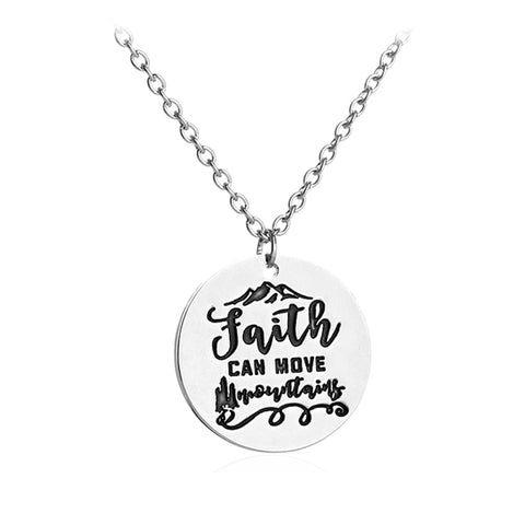 """Faith Can Move Mountains"" Pendant Necklace"