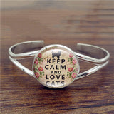 """Keep Calm & Love Cats"" Bangle Bracelet  (2 Colors)"