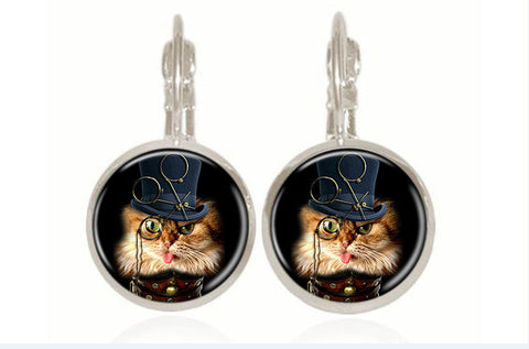 """Steampunk"" Cat Earrings (2 Colors)"