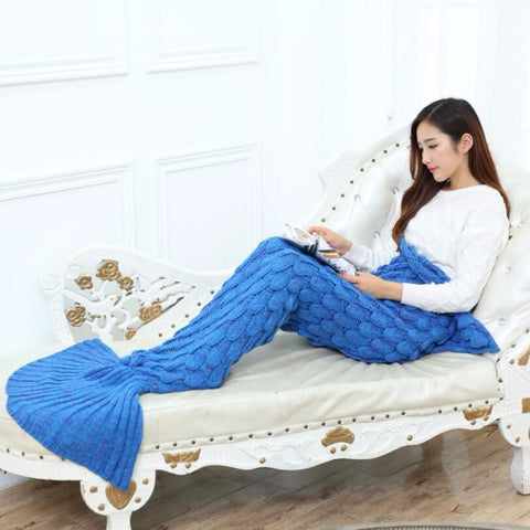 """Mermaid Tail"" with Scales Knitted Blanket (12 Colors)"