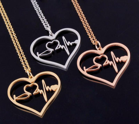 Nurses ECG Heartbeat/Stethoscope Heart Pendant Necklace (3 Colors)