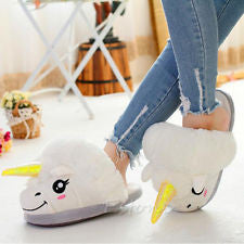 """Unicorn"" Horse Plush Slip-On Slippers (4 Colors)"