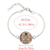 """Keep Calm & Love Cats"" Silver Necklace & Bracelet"