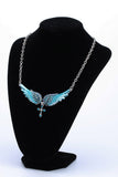 Angel Wings Cross Crystal Necklace (10 Colors)