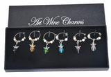 Angel Glass Wine Charms (Gift Box of 6)
