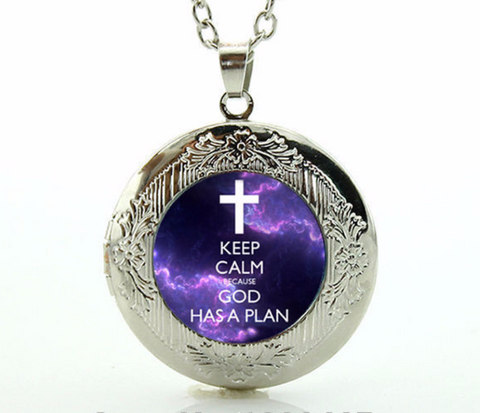 """Keep Calm - God Has A Plan"" Locket Necklace"