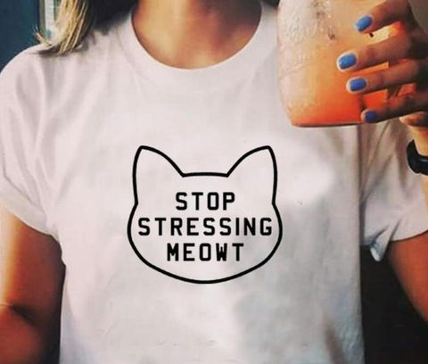"""Stop Stressing MEOWT"" Cat T-Shirt (3 Colors)"