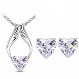 Heart Angel Wings Pendant Necklace & Earrings Set (3 Colors)