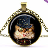 """Steampunk"" Cat Pendant Necklace (2 Colors)"