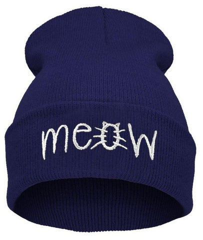 """Cat's MEOW"" Knitted Beanie Cap (3 Colors)"