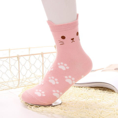 """Cat Ears & Paws"" Socks (5 Colors)"
