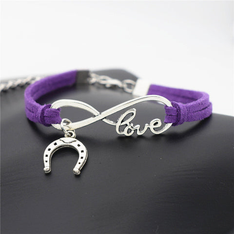 Horse Love & Infinity Horseshoe Charm Bracelet (10 Colors)
