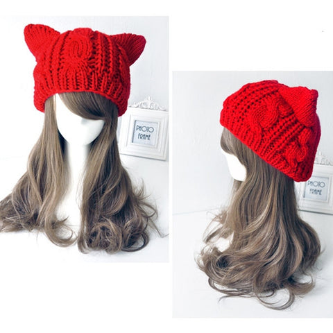 """Cat Ears"" Knitted Beanie Hat (6 Colors)"
