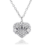 Nurses Heart Crystal Charm Pendant Necklace (3 Colors)