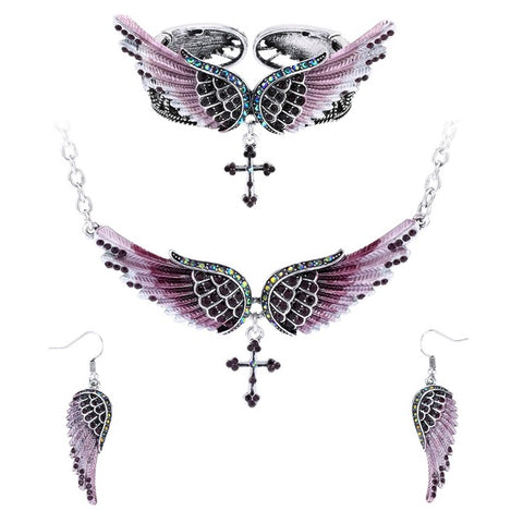 Angel Wings Cross Crystal Jewelry Set (8 Colors)