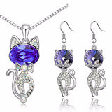 Crystal Cat Pendant Necklace & Earrings (4 Colors)
