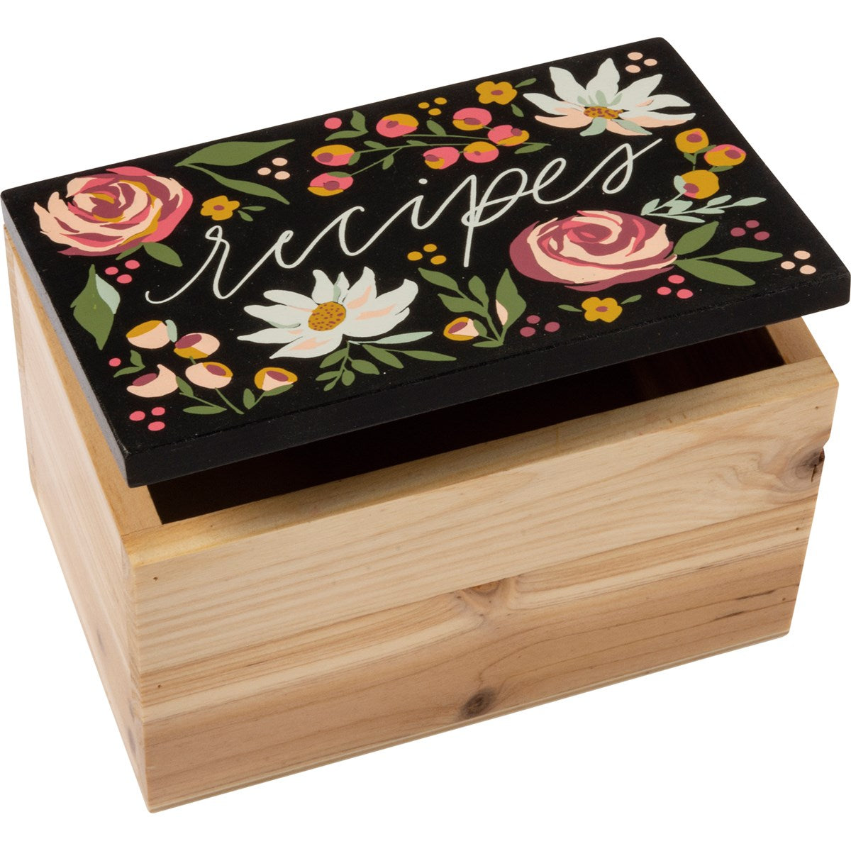 Wooden Floral Recipe Box (106274)