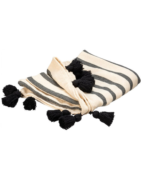 Black Tassel Cotton Throw Blanket (107906)