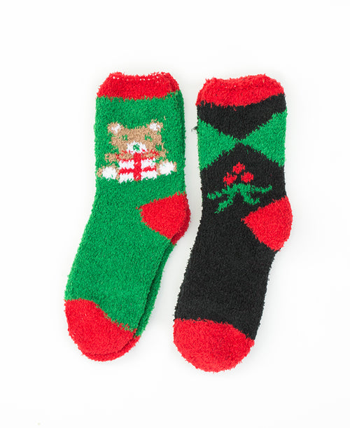 Set of 2 Christmas Socks- Bear and Holly